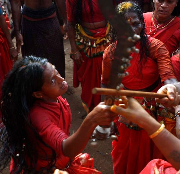 Vellichappadu (woman Oracle ) performing at Kodungalloor Temple, Kerala