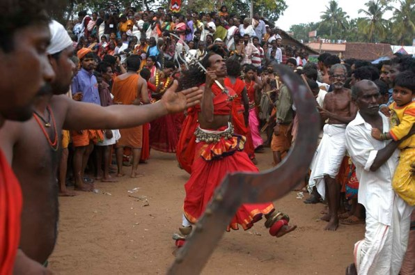 There are male partners too part of the group, they come in group and perform during the festival at Kodungalloor Temple, Kerala