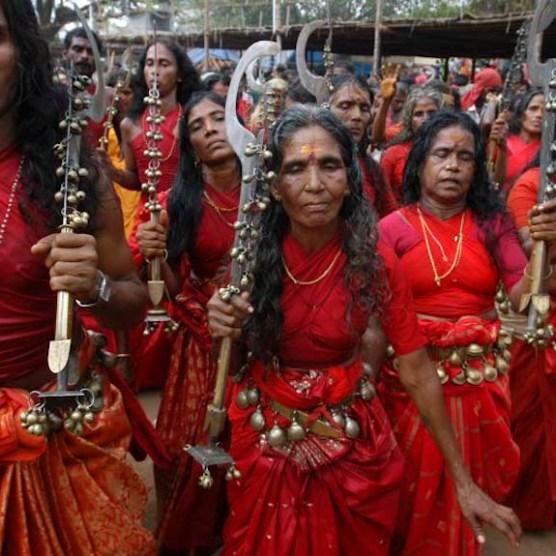 Vellichappadu (woman Oracle ) performing at Kodungalloor Temple, Kerala