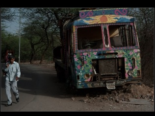 Graffiti from a abandoned Borewell drilling machine in Qutub, New Delhi: graffiti on an abandoned earth drilling vehicle.
