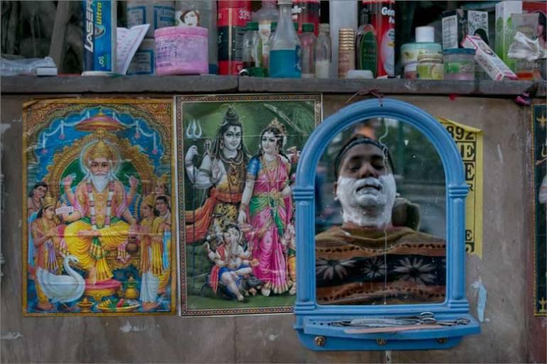 after Shivrathri....., a barber's mirror