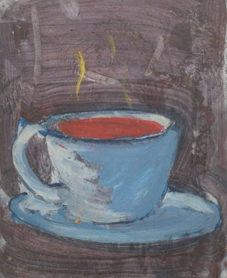 """ A Cup of ,,,,"" 1994 Oil on film sheet"