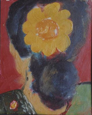 """""""Yellow flower"""" Oil on film sheet 1993 ( In private collection)"""