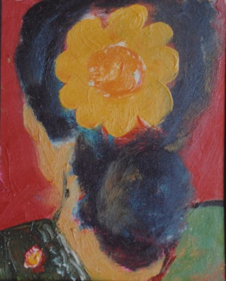 """Yellow flower"" Oil on film sheet 1993 ( In private collection)"