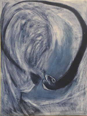 """ YES .... She is sniffing"" Charcoal pastels on board paper. 1995"