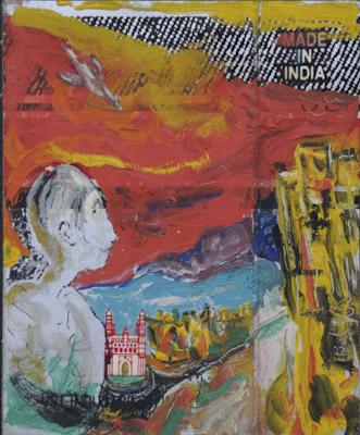 """ Charminar"" acrylic on a cigarette cover. 1993"