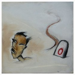 """My Lost Journeys"" series -09. charcoal, glass marking pencil, dry pastels & acrylic on canvas"