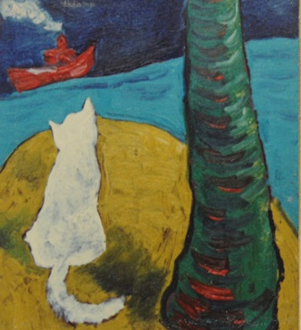 eXPECTATION SEries, CAt, coconut tree & a ship. Oil on film sheet. 1993 ( in private collection) 1993