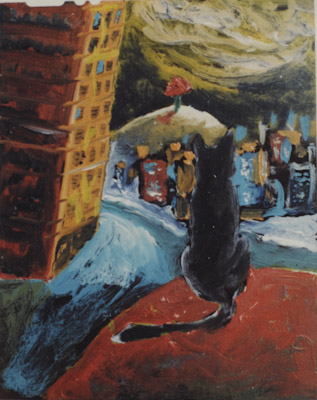 eXPECTATION SEries, CAt, tree & a red table. Oil on film sheet. 1993 ( in private collection)