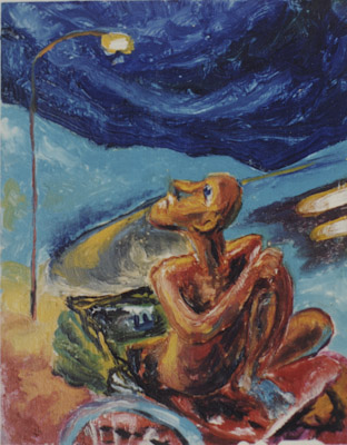 eXPECTATION SEries, MAN,rikhshaw,neon lamp & blue sky_ 1993 (in private collection)