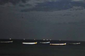 Parked fishing boats in Rameswaram.