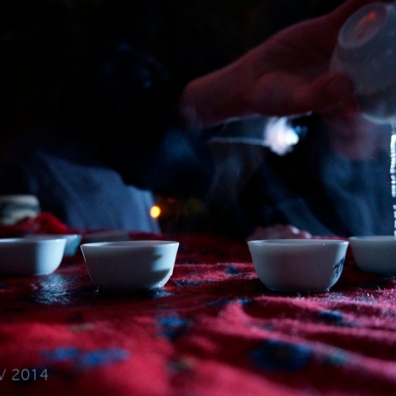 The musicians having a Chinese tea session before the performance.