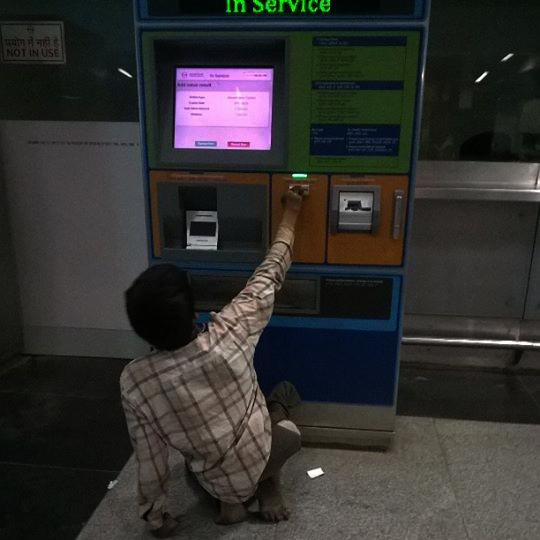 IS DMRC a unfriendly to 'differently- abled' passengers?? Yes Not only that today evening at Rajiv Chowk metro station,  Sandesh  a daily wage labor come to take a ticket at the counter has been refused and ignored. He neither got any help from guard on duty. When I saw him struggling to draw a token from the machine, I offered a help.